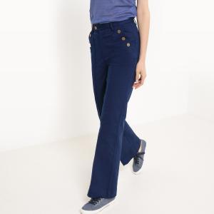 Брюки базового гардероба, свободного, широкого покроя, однотонные JOE RETRO. Цвет: синий