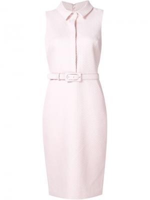 Платье с поясом Badgley Mischka. Цвет: розовый и фиолетовый