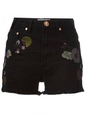 Birds of Paradise embroidered denim shorts One Teaspoon. Цвет: чёрный