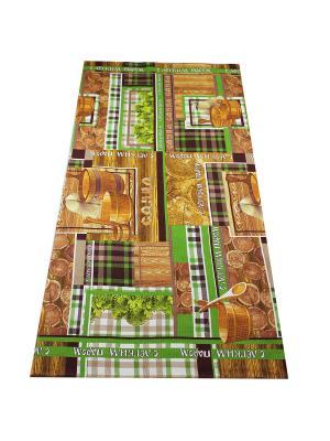 Полотенце вафельное Баня Римейн. Цвет: коричневый, зеленый