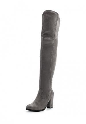 Ботфорты Style Shoes. Цвет: серый