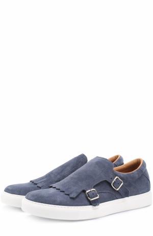 Замшевые слипоны с декоративной пряжкой H`D`S`N Baracco. Цвет: синий