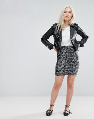 B.Young Мини-юбка с принтом Зебра. Цвет: серый