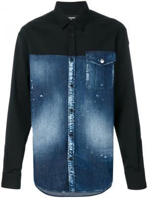 Джинсовая рубашка панельного дизайна Dsquared2. Цвет: синий