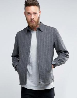 Hoxton Shirt Company Жакет на молнии узкого кроя в тонкую полоску. Цвет: серый