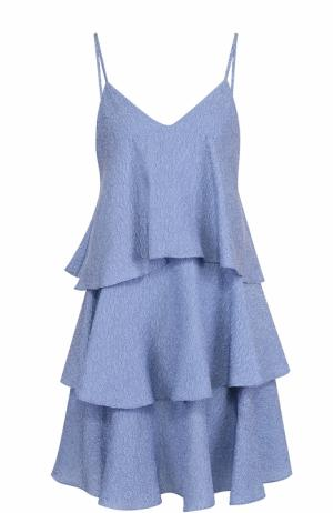 Шелковое многоярусное мини-платье с фактурной отделкой Paul&Joe. Цвет: голубой