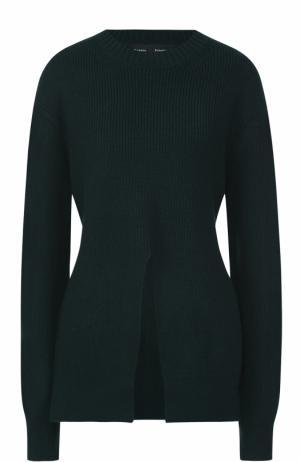 Вязаный свитер из смеси шерсти и шелка с кашемиром Proenza Schouler. Цвет: зеленый