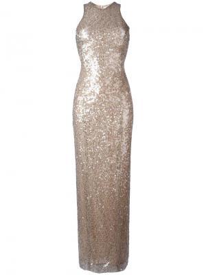 Платье с пайетками Moonlight Galvan. Цвет: телесный