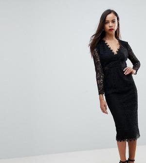ASOS Petite Кружевное платье-футляр миди с длинными рукавами. Цвет: черный