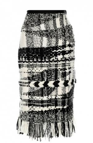 Буклированная юбка-карандаш с бахромой Oscar de la Renta. Цвет: черно-белый