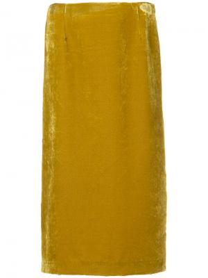 Бархатная прямая юбка Cityshop. Цвет: жёлтый и оранжевый