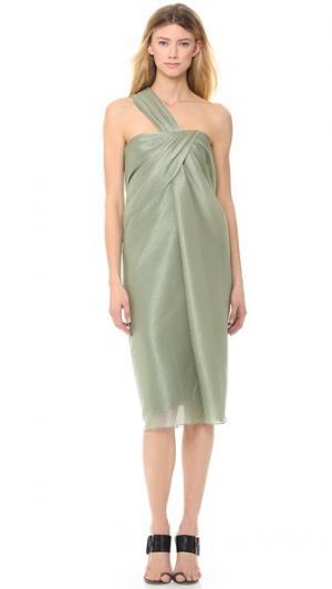Металлизированное платье с косой драпировкой и открытым плечом Jason Wu. Цвет: зеленый