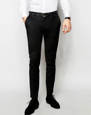 ASOS Черные зауженные брюки под смокинг. Цвет: черный