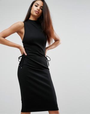 Kendall + Kylie Платье миди со шнуровкой. Цвет: черный