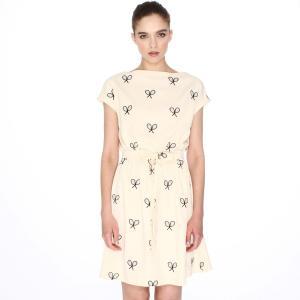 Платье с короткими рукавами и вышивкой теннисные ракетки PEPALOVES. Цвет: кремовый