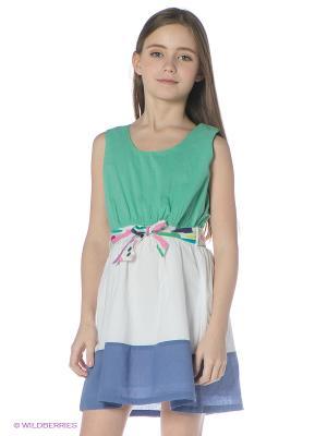 Платье Bimbalina. Цвет: зеленый, белый