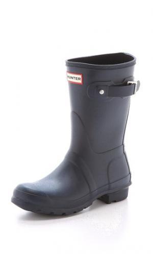 Оригинальные короткие сапоги Hunter Boots. Цвет: темно-синий