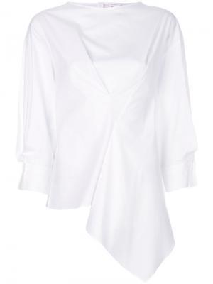 Блузка с присборенной деталью Enföld. Цвет: белый