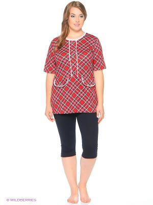 Комплект домашней одежды ( туника, бриджи) HomeLike. Цвет: красный, белый, синий