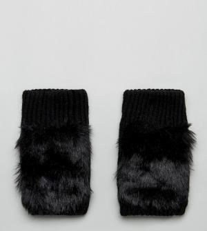 My Accessories Черные перчатки с отделкой из искусственного меха. Цвет: черный