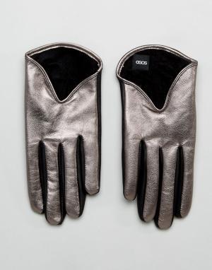 ASOS Серебристые кожаные перчатки металлик. Цвет: серебряный