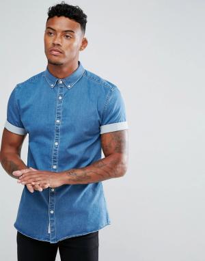 River Island Обтягивающая джинсовая рубашка. Цвет: синий