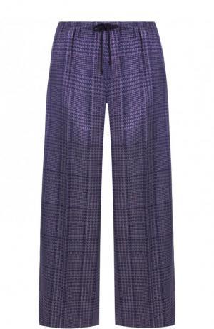 Укороченные брюки с эластичным поясом в клетку Dries Van Noten. Цвет: фиолетовый