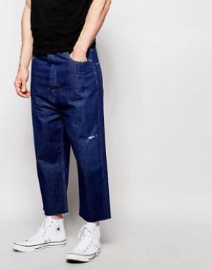 ASOS Джинсы цвета индиго с широкими штанинами. Цвет: синий