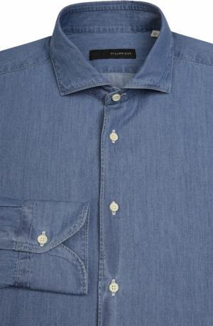 Рубашка из денима свободного фасона Stanbridge. Цвет: синий