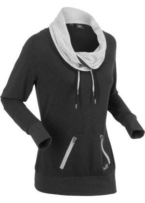 Анорак с длинными рукавами (черный меланж) bonprix. Цвет: черный меланж