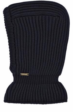 Шерстяная шапка фактурной вязки с воротником Il Trenino. Цвет: темно-синий