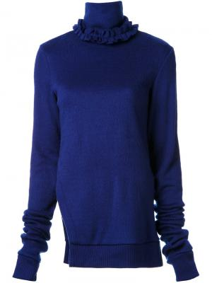 Асимметричный свитер с оборочной горловиной Murral. Цвет: синий