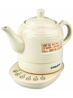 Чайник Scarlett SC-EK24C02 1.3л. 1850Вт бежевый (керамика). Цвет: бежевый