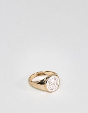 Chained & Able Кольцо-печатка с эмалированным логотипом. Цвет: серебряный