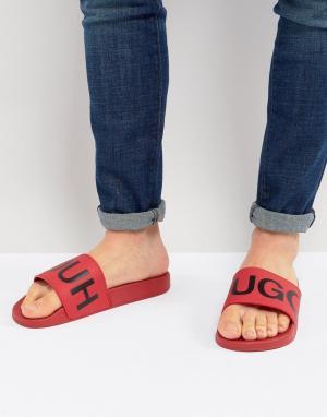 HUGO Красные шлепанцы с логотипом. Цвет: красный