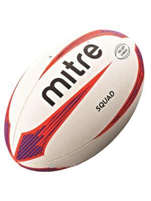 Мяч регбийный MITRE SQUAD 4P размер 5. Цвет: белый, черный, синий, красный
