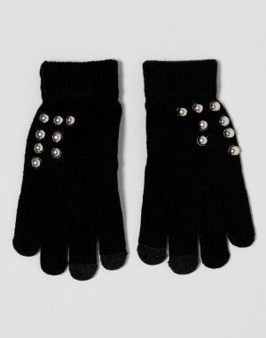 7X Перчатки с накладками для сенсорных экранов и отделкой заклепками. Цвет: черный