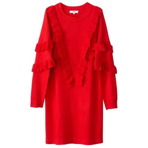Платье-пуловер короткое с воланами и длинными рукавами SUNCOO. Цвет: красный