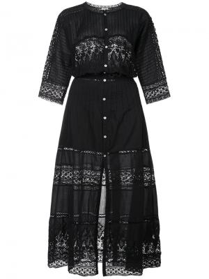 Кружевное платье Beth Prairie Love Shack Fancy. Цвет: чёрный