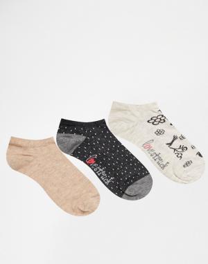Lovestruck 3 пары спортивных носков с серыми птицами. Цвет: с серыми птицами