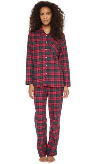 Фланелевая пижама Jamie Three J NYC. Цвет: красно-зеленая клетка с белой отделкой