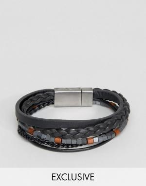 Seven London Черный кожаный браслет с бусинами. Цвет: черный