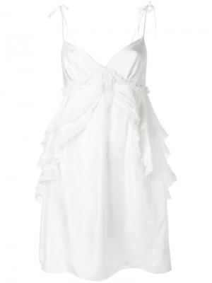 Платье с оборками Thomas Wylde. Цвет: белый