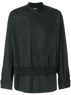 Укороченная рубашка на пуговицах Wooyoungmi. Цвет: чёрный