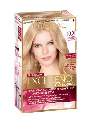 Стойкая крем-краска для волос Excellence, оттенок 10.21, Светло-светло русый перламутровый осветля L'Oreal Paris. Цвет: желтый