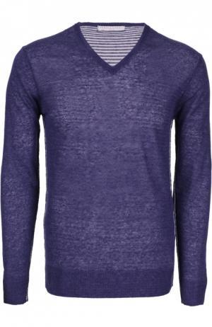 Меланжевый пуловер с контрастными вставками Daniele Fiesoli. Цвет: темно-синий