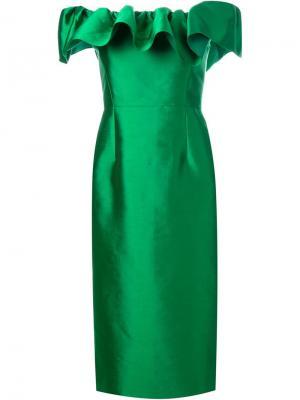 Платье с оборками Greta Constantine. Цвет: зелёный
