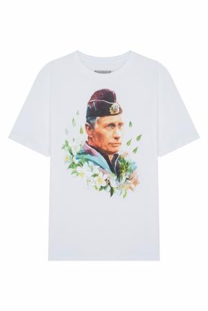 Хлопковая футболка ANYAVANYA. Цвет: белый, разноцветный