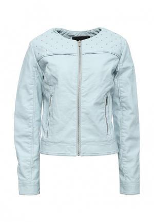 Куртка кожаная oodji. Цвет: голубой