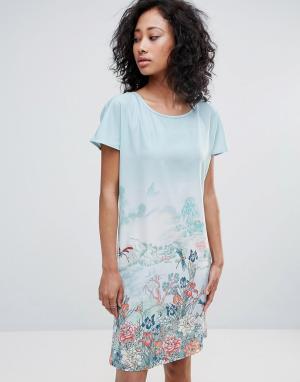 Uttam Boutique Платье-туника с принтом. Цвет: синий